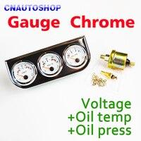 Chrome Auto Holder Gauge 3 En 1 Kit (tensión + Temperatura de Aceite + Prensa de Aceite) Triple Metro Del Coche del Tablero de instrumentos