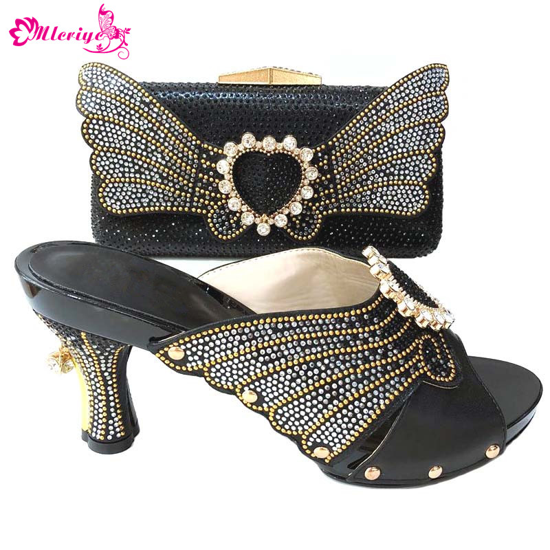 nice black Shoe And Bag Set African Wedding Shoe And Bag Sets Italy Women Shoe And Bag To Match For party 1165-2