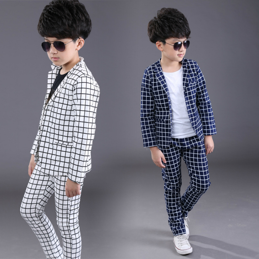 Children Spring Autumn Casual Plaid Blazers Suits Boys Formal Jacket Pants Suits Boys Blazer ...