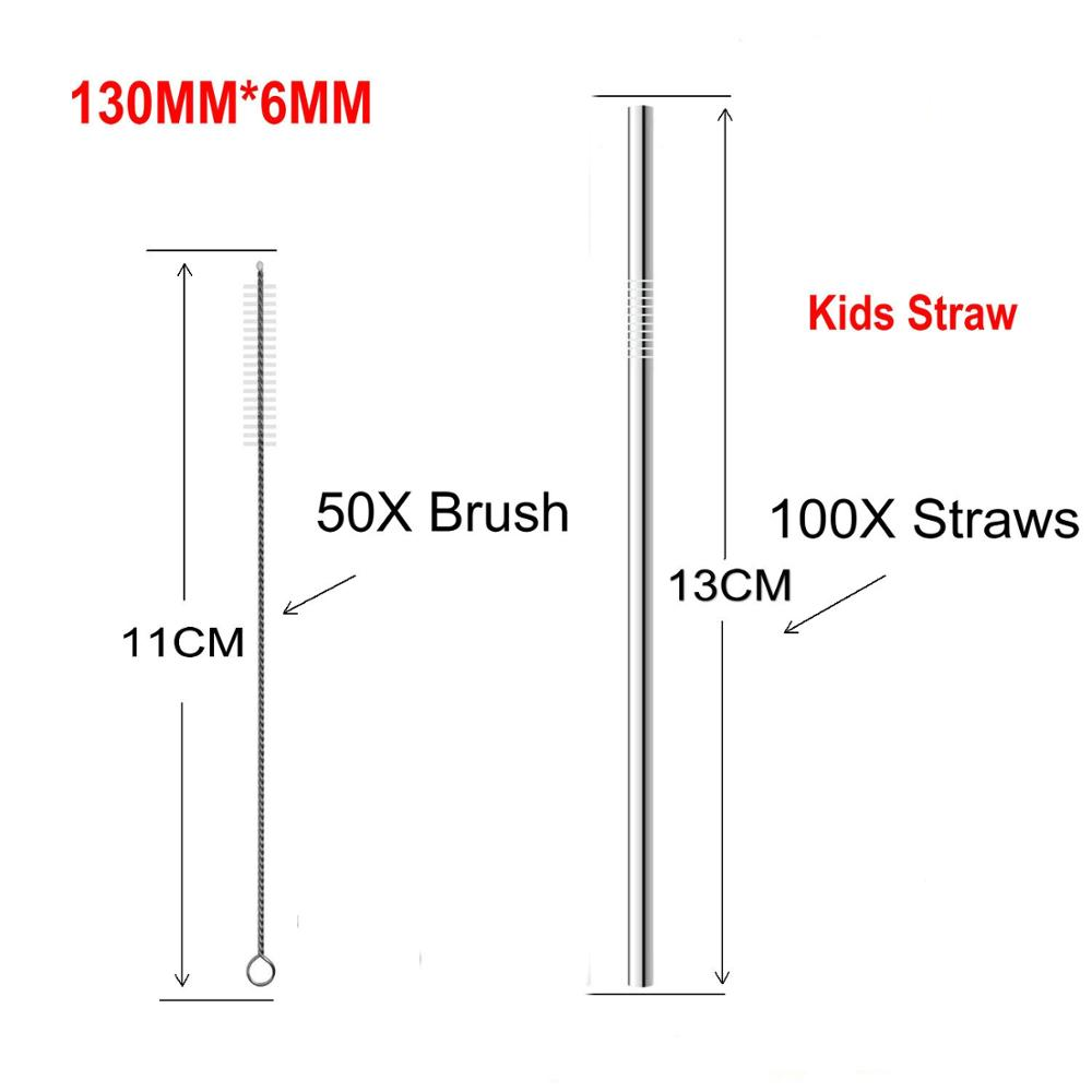 FUHAIHE 100pcs/lot 130*6mm Kids Metal Straw Set Drinking 304 Stainless Steel Reusable with 50pcs Brush