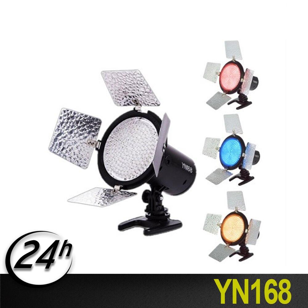 YongnuoYN168 bi-color 3200 K-5600 K LED s lampe lumière LED pour appareil photo caméscope vidéo avec plaque de 4 couleurs pour appareils photo reflex numériques Canon Nikon