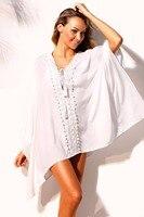 2018 New Arrival Summer Women's Sexy V-Neck Black White Light Mint Crochet Applique Tassel Tie Beach Dress LGY42227