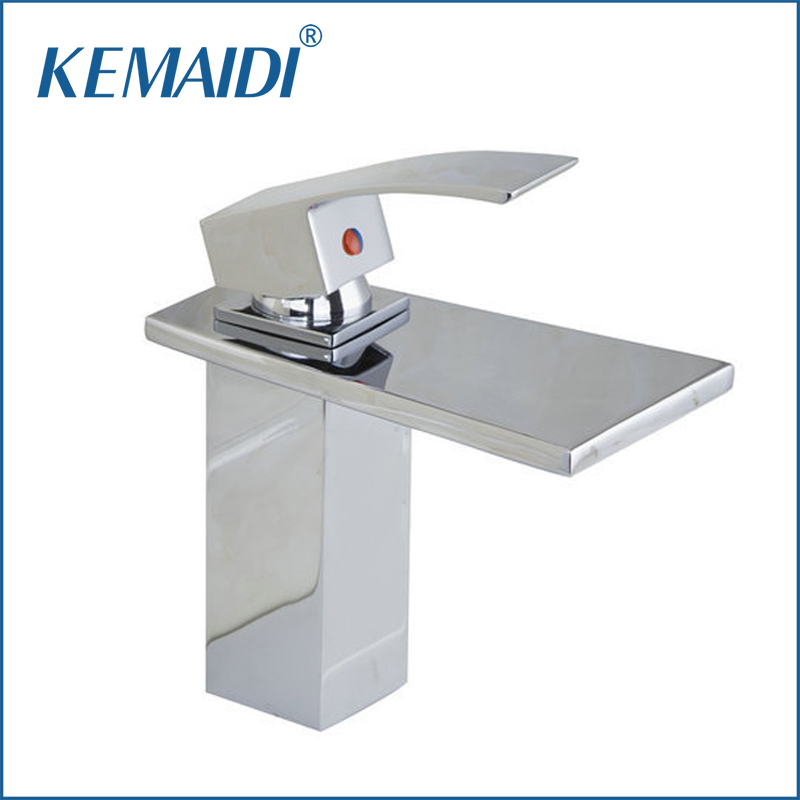 KEMAIDI Bathroom Waterfall Spout Faucet Chrome Basin Faucets Deck Mounted Tap Mixer Single Lever Bathroom Sink Faucet 92252 kemaidi luxury polished chrome led waterfall spout bathroom basin faucet contemporary square sink mixer tap deck mounted