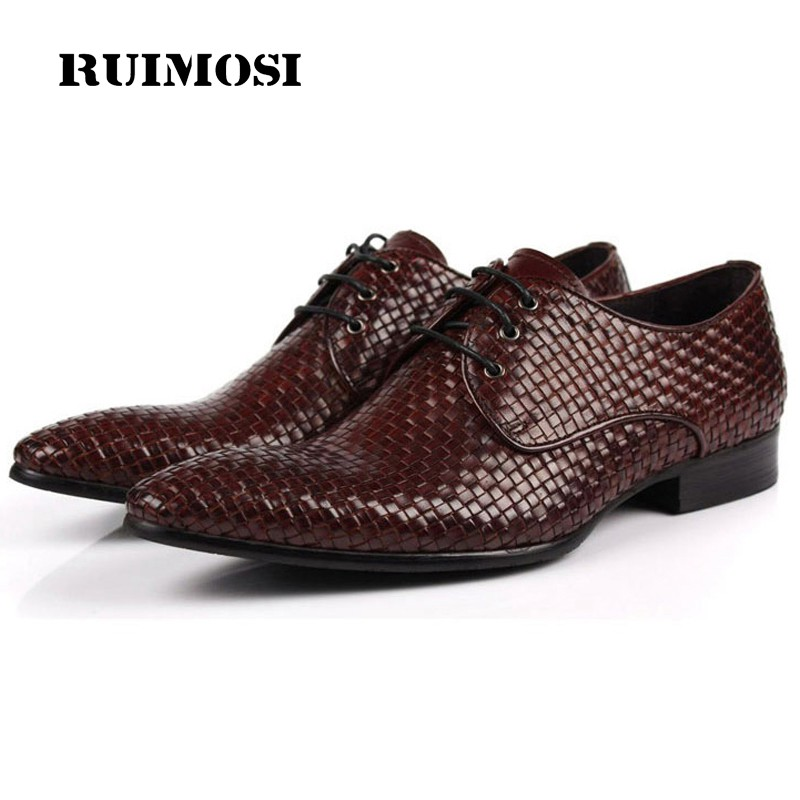 RUIMOSI Luxury Formal Brand Man Dress Shoes Genuine Leather Handmade Male Oxfords Top Quality Pointed Derby Men's Flats CA26