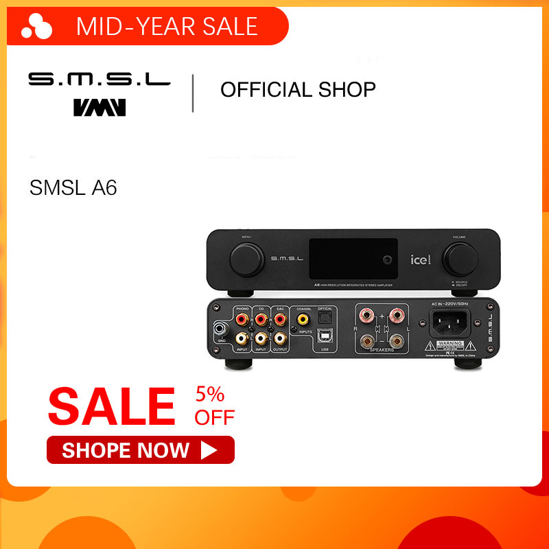 SMSL Amplificador Digital de ALTA FIDELIDADE A6 50Wx2 DAC Digital 110 V/220 V Nativa DSD512 USB/Optical/Coaxial /LP Player/CD de Entrada Analógica