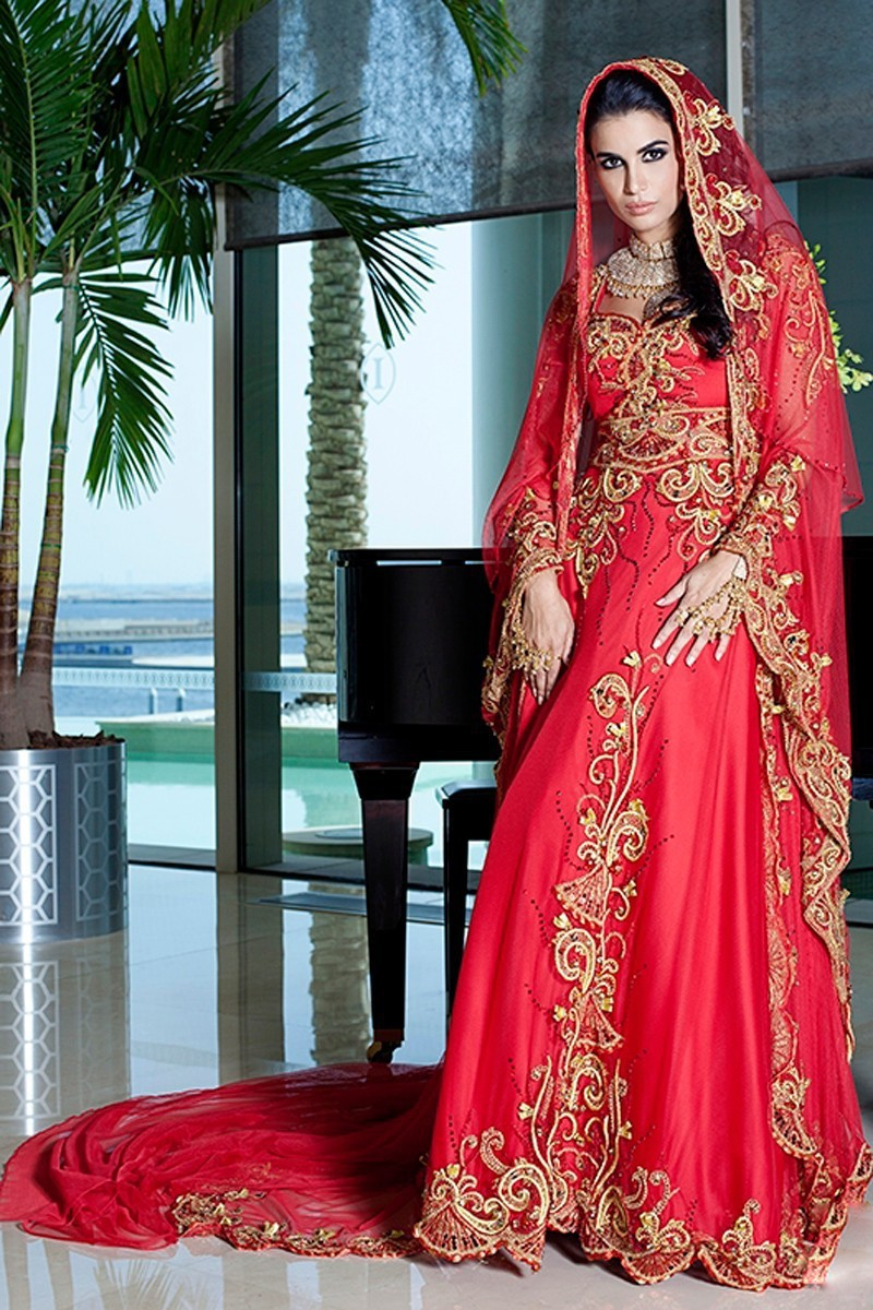 Luxurious Gold Sequins Long Sleeves Chapel Arabic Muslim Wedding Dress muslim wedding dress Muslim Wedding Dress See Larger imageSee