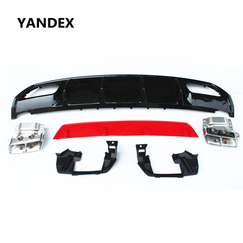 YANDEX ABS 4-outlet A45 AMG diffuser + 304 stainless steel exhaust tip for  Benz 2013-EN EL Sport Edition A Class A180 A200