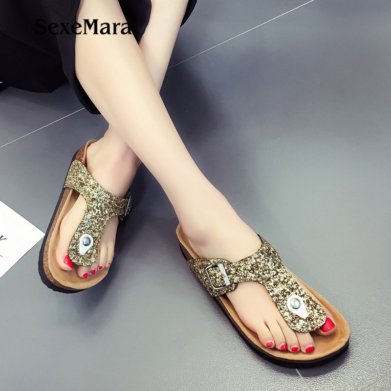 Summer Glitter Beach Cork Slippers Sandals Double Buckle Clogs sequins Sandalias Women Slip on Flip Flops Flats Shoes Plus Size wolf who summer women slippers buckle flats sandals fashion beach sandals leisure sandalias mujer high quality flip flops women