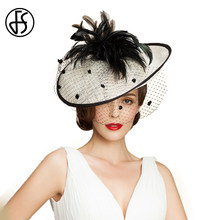 7ad80e2f287cc FS British Women Hat Sinamay Black White Church Hats Fascinator Wedding  With Veil Feather Elegant Large Lady Linen Fedoras
