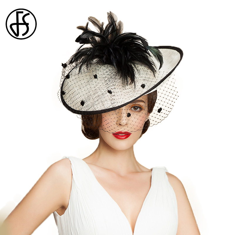 FS Fascinations Sinamay Lady Black White Veil Hat Elegant Linen Fedora Feather Large Wide Brim Vintage Women Wedding Church Hats