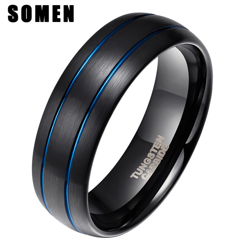 acheter populaire 248c6 1ecf3 8MM Black Men Tungsten Carbide Ring Double Blue Line Inlay Design Wedding  Band Engagement Ring Jewelry bague homme