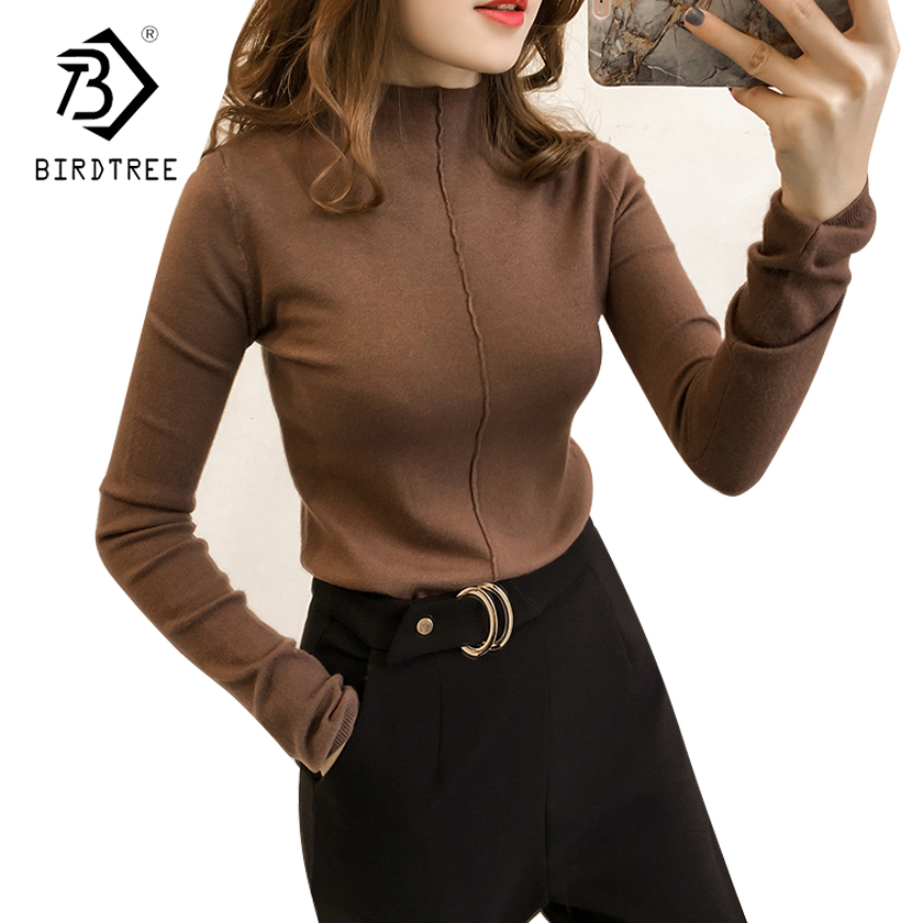 2018 NEW Arrival Fall Winter Women Sweaters Pullovers Clothing Casual Turtleneck Knitted Women Tops Long Sleeves Basic T89612F