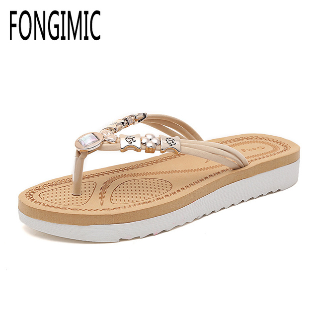Summer Women Slippers Bohemia Style Comfortable Flip Flops Beaded Good  Quality Cool Beach Vacation Elastic Band Flat With Shoes 2458b7089e72