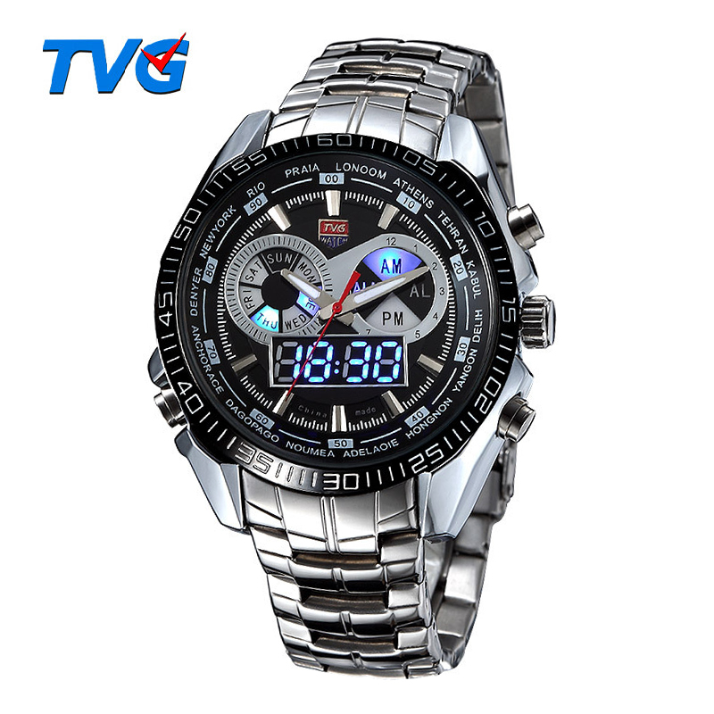 TVG Brand Luxury Stainless Steel Clock Санат Спорттық Жарықдиодты Мужчины 30M Dual Movements Waterproof Watches Relogio Masculino