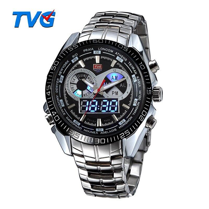 TVG Marque De Luxe En Acier Inoxydable Horloge Numérique Sport LED Montres Hommes 30 m Deux Mouvements Étanches Montres Relogio Masculino