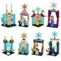 El más nuevo Mini Snow Queen Anna Elsa Kristoff Olaf figuras de Hielo castillo modelo building block juguetes compatible con lego chica de navidad regalo