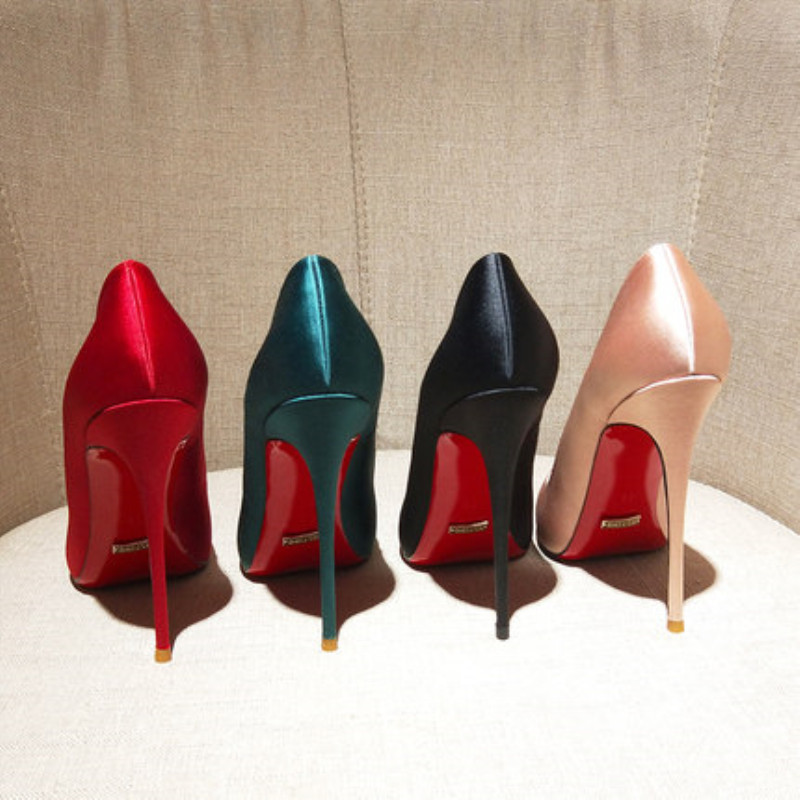 Quality Silk Satin Women Sexy Pumps Red Bottom Shoes Wedding Party Dress Pointed Toe Shallow High Heels Thin Heels Stilettos