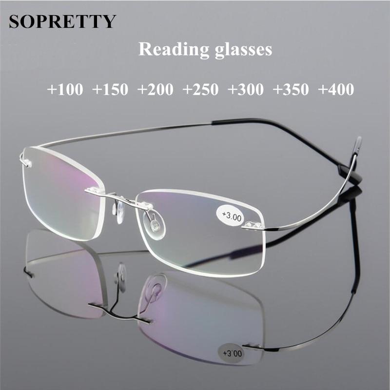 Eyewear Reading-Glasses Rimless Ultralight Anti-Fatigue Presbyopia Titanium-Alloy Unisex