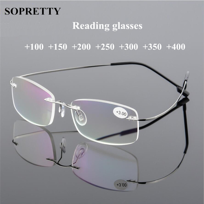 Unisex Titanium Alloy Screwless Rimless Reading Glasses , Women High Definition Anti Fatigue Ultralight Presbyopia Eyewear A862