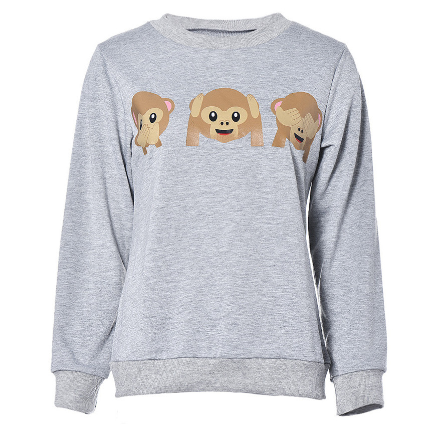 Monkey Patterns Women Sweatshirt Autumn Hoodies 2017 Sweatshirt Loose Jumper Baseball Tee Tops Blouse Tracksuit G3p9 Women's Clothing