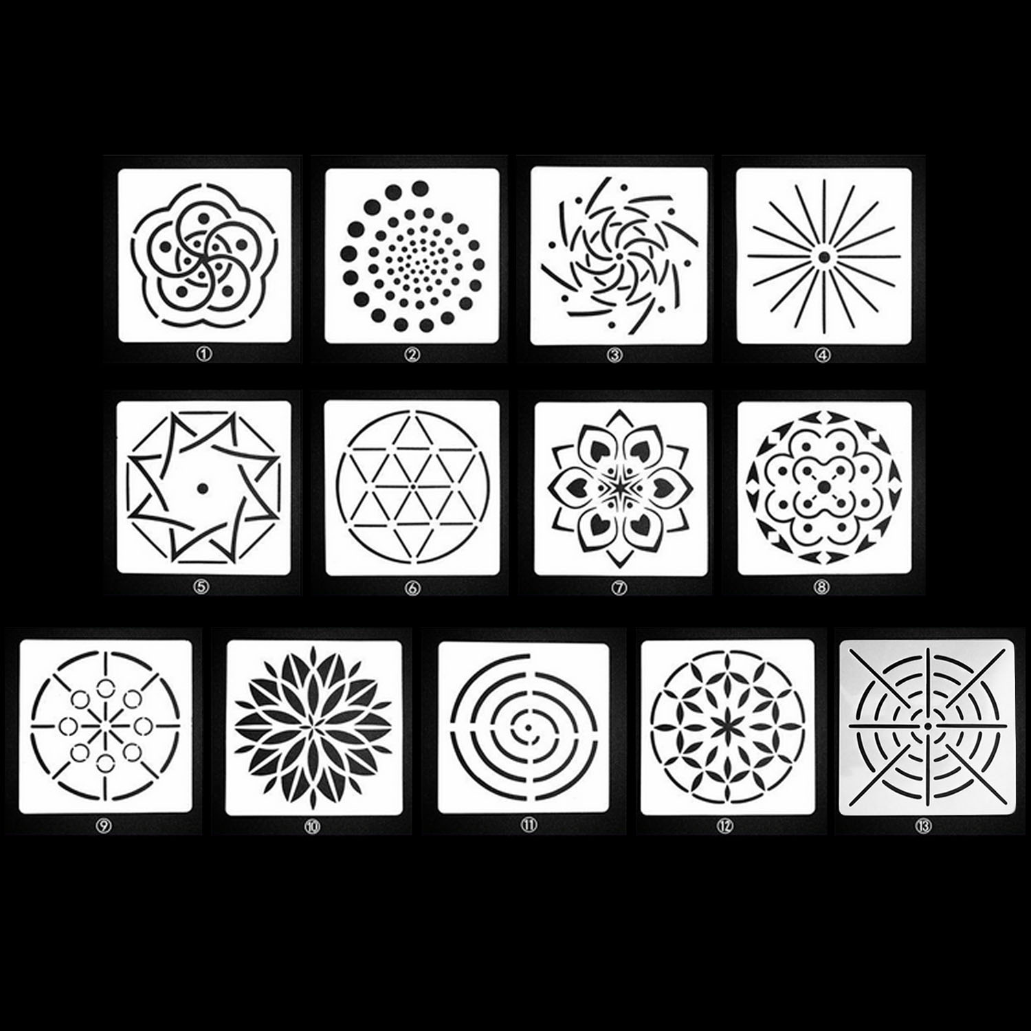 13PCS Assorted Pattern Mandala Dotting Painting Stencils Templates Tools For DIY Craft Furniture Wood Canvas Rocks Fabrics Art