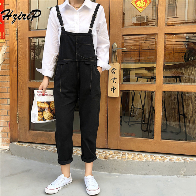 819018c059f6 HziriP Women Jumpsuit Denim Overalls 2018 Spring Autumn Black Red Strap Ripped  Pockets Full Length Loose Denim Jeans Jumpsuit
