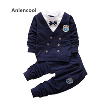 Bear Leader Fashion Baby Boy Sets Autumn Casual Style Baby Clothing Bow Handsome Lapel Short Sleeved