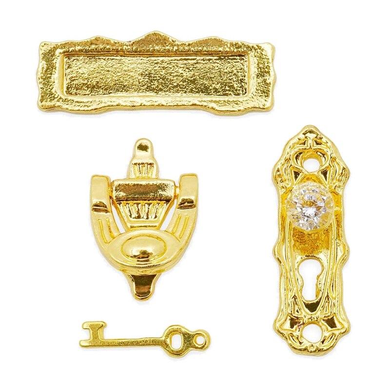 1:12 Miniature Gold Door Ring Lock Door Set Alloy Retro House Miniature Door Lock Doll House Furniture Accessories For Doll Ho