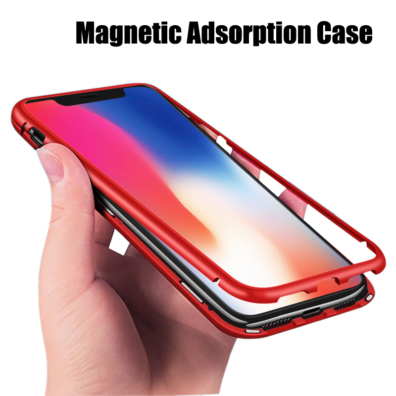 2aac6ebf4b2 Good Quality Magnetic Adsorption Case For iPhone X Metal Bumper + 9H  Tempered Glass Case For iPhone X Metal Magnet Phone Case