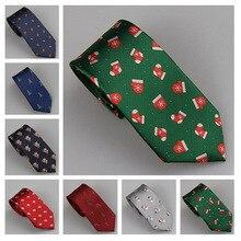 Lammulin Галстуки 16 видов стилей Рождество 7 см Tie snowman шапка носок Чили олень гамбургер Рождество дерево Санта Клаус жаккард тонкий галстук