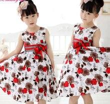 Красный элегантный необычные девушки ребенок принцесса свадебное платье ну вечеринку платье с бантом 2-12Y