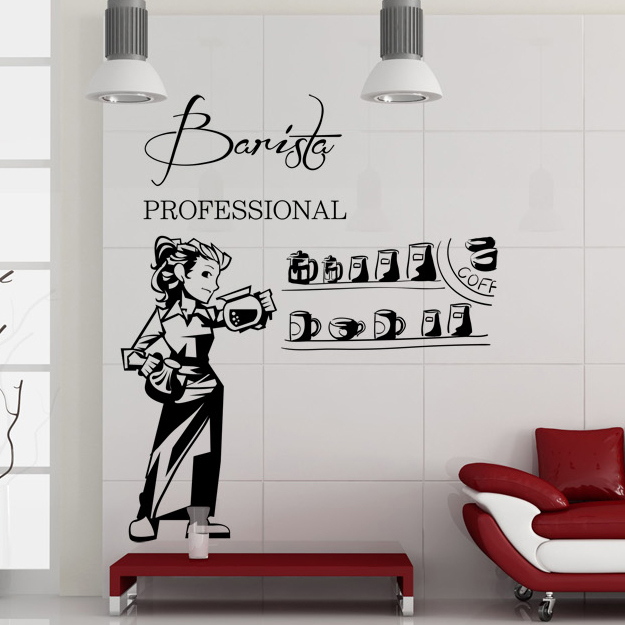 coffee wall decal lady bar decoration coffee shop wall stickers cafe