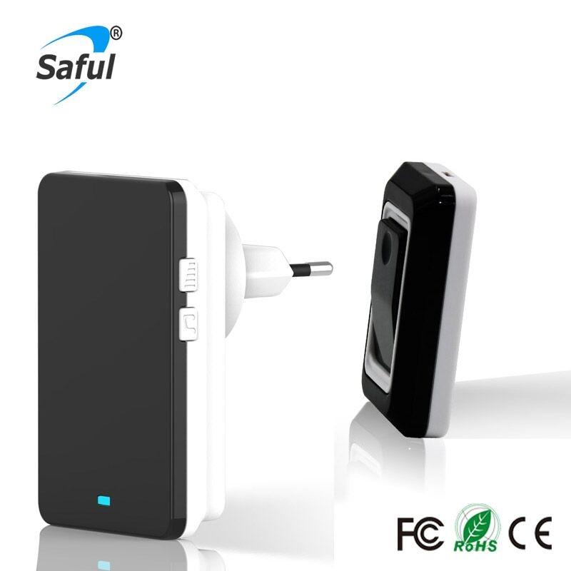 Saful New Black Waterproof doorbell Long Distance Remote Control Stable Signal Wireless Apartment door bell System EU/UK/US/AU waterproof  remote control doorbell
