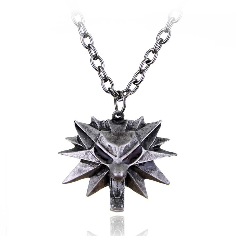 Hot Fashion Game Wizard Witcher 3 Medallion 3D Pendant Necklace Wolf Head Halloween Necklace Jewelry
