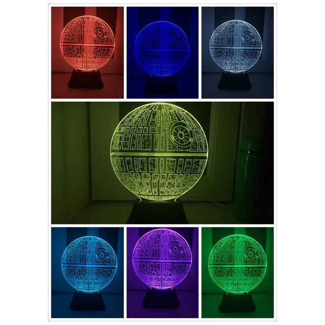 Luz LED para el hogar Lámpara de Mesa Bombilla Bola Fuerza Despierta Estrella de La Muerte 3D Estrella de La Muerte Interruptor Ligero Toque Lámpara de Regalos para Los Fans de Star Wars