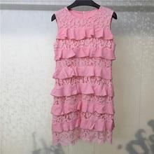 Summer Womens Dress Sleeveless Pink Mini Dresses Female Casual Ruffles Lace Vestdios Women Clothings
