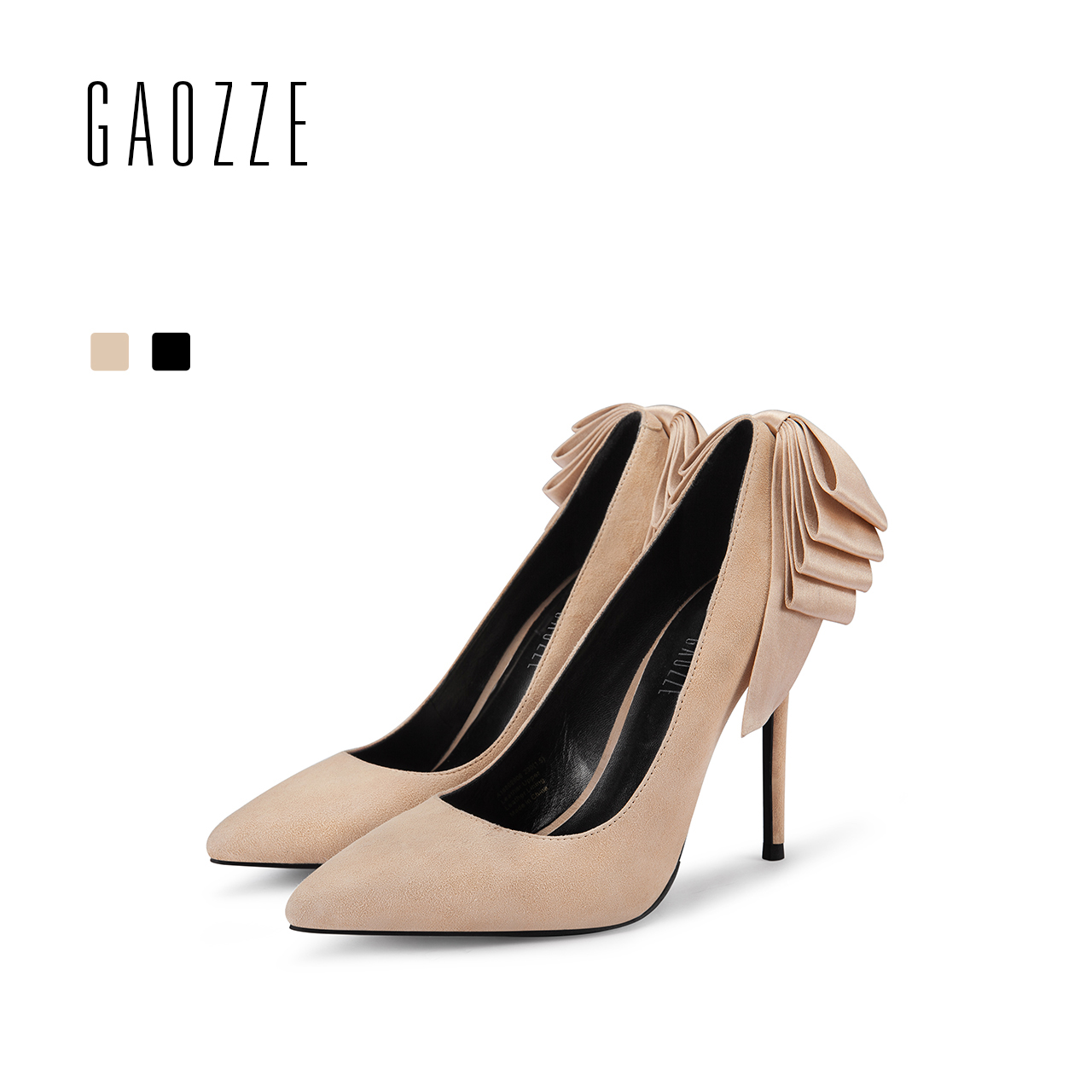 GAOZZE Lovely Bow-Knot Women Party Shoes Pumps 10CM Sexy High Heel Shoes Ladies Pointed Toe Women Suede Leather Pumps Shoes 2018 bigtree spring summer women pumps sweet bow knot high heeled shoes thin pink high heel shoes hollow pointed stiletto elegant 22