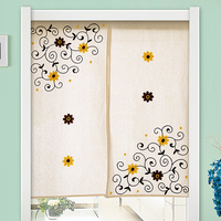 Japanese Style Sunflower Totem Embroidered Door Curtain Natural Cotton Partition Bathroom Bedroom Kitchen Door Curtain
