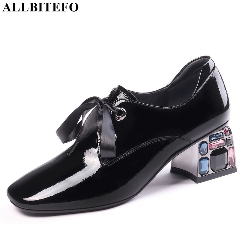 ALLBITEFO Natural Genuine Leather High Heels Women Heels Spring Autumn Office Ladies Shoes High Quality High Heel Shoes