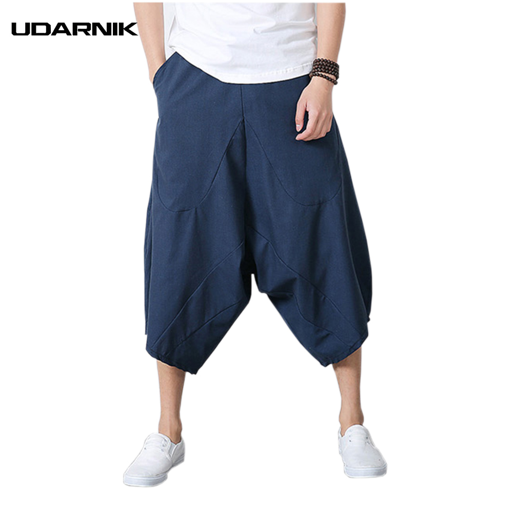 Men Pants Harem Male Trousers Cotten Linen Calf-length Pants Chinese Style Baggy Loose D ...