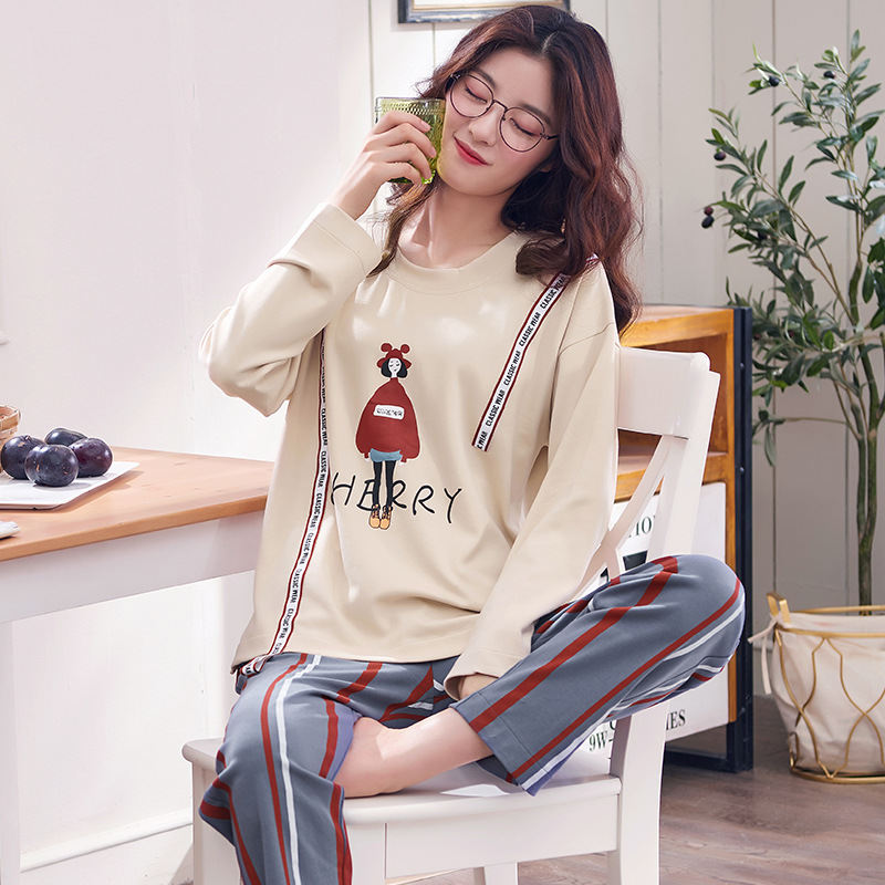 Big Yards M-3XL Women   Pajamas     Sets   100% Cotton Nightwear Spring Autumn Long Sleeve Pyjamas O-Neck Sleepwear Female Pijamas Mujer