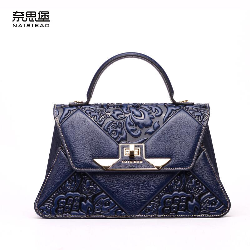 2016 New women genuine leather bag fashion chinese style quality luxury retro embossing women handbags shoulder cowhide bag