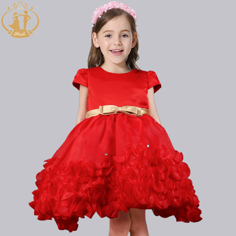 Nimble Dresses For Girls Cute Flower Red Princess Party Cloth nimble dresses for girls lace appliques princess party cloth