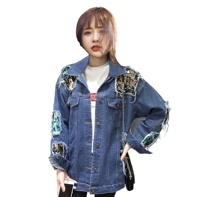 2017 Musim Gugur wanita Pakaian Sequin Denim Jaket Harajuku style Longgar  Wanita Mantel Tahan Dr Compang 0b6a1e2c85