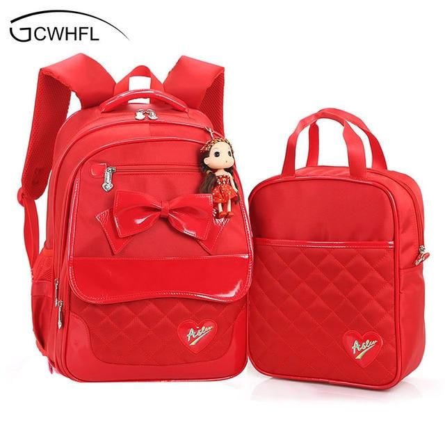 91da8cbd36321 جديد 2019 الأحمر اللون 2 قطعة مجموعة حقائب الأطفال حقيبة مدرسية s للبنات  الاطفال على ظهره