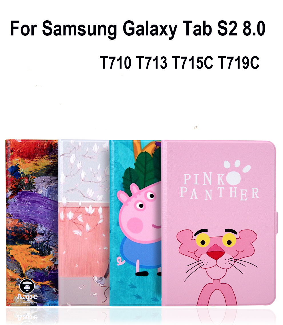 PU+TPU Soft Shockproof Case Stand Cover For Samsung Galaxy Tab S2 8.0 T710 T713 T715C T719C Tablet Sleeve Wake up/Sleep Cartoon stand case for samsung galaxy tab s2 8 0 sm t710 t713 t715c t719c iharbort ultra slim pu leather case smart cover holder