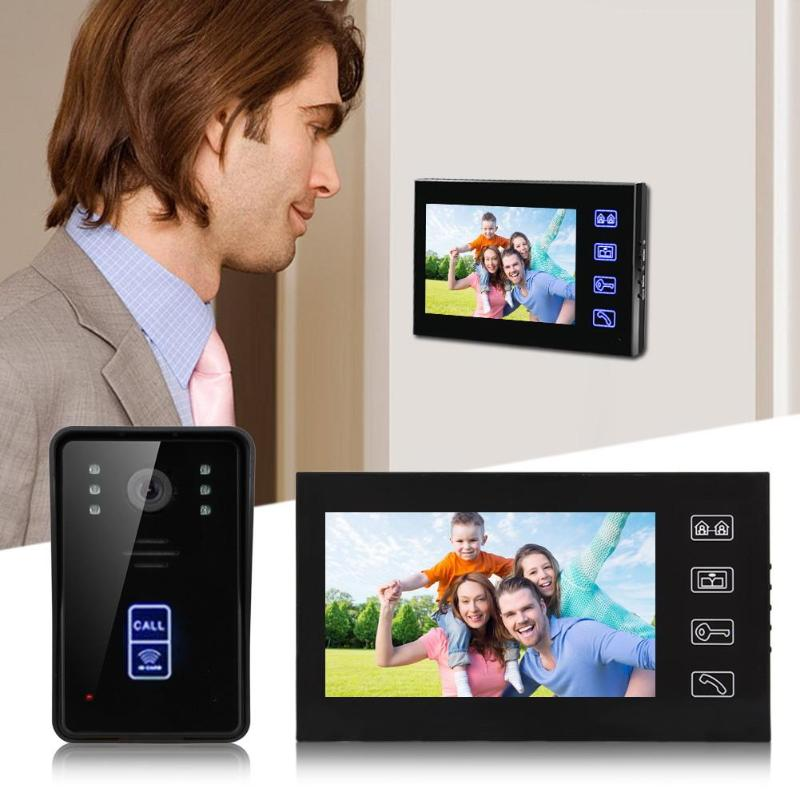 7 RFID Video Door Phone Intercom Doorbell Touch Button Remote Unlock Camera Night Vision Home Security Intercom System
