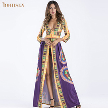 BOHISEN African Print Women Maxi Dress Dashiki Deep V-Neck Long Sleeve Elastic Tribal Print Front Long Slit Ladies Party Clothes