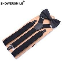 581821683 SHOWERSMILE tirantes Y corbata de lazo hombre negro elástico Y volver  pantalón tirantes para hombres mujeres boda Liga conjunto