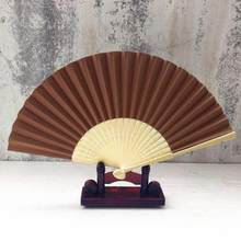 21cm Pattern Folding Wedding Party Lace Silk Folding Hand Held Solid Color Fan Folding Elegant Wedding Party Hot Sale Dropship(China)